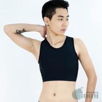 【BOOM】台灣代理香港品牌/DOUBLE透氣舒適/網布套頭半身束胸內衣(黑)