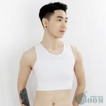 【BOOM】台灣代理香港品牌/DOUBLE透氣舒適/網布套頭半身束胸內衣(白)