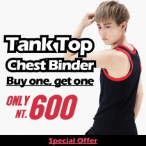 【T-STUDIO】Tank top chest binder/ colorful hemming stitches 100% cotton/ Buy 1 and get the second one for NT.600