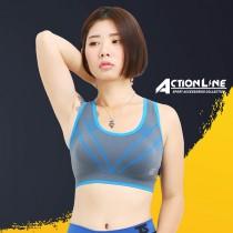 【ACTIONLINE】爬線套頭運動內衣 - 螢光藍