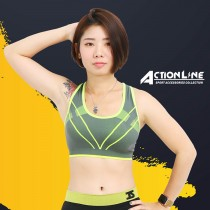 【ACTIONLINE】爬線套頭運動內衣 - 螢光黃
