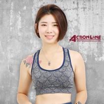 【ACTIONLINE】格紋套頭運動內衣 - 藍灰