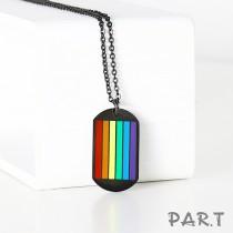 【PAR.T】六彩鈦鋼黑色吊牌項鍊組