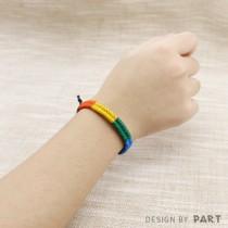 【PAR.T】彩虹商品-編織蠟繩手環
