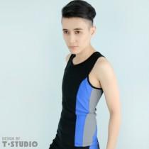 【T-STUDIO】套式束胸泳衣/中性撞色/單件銷售(藍黑)