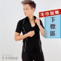 【T-STUDIO】造型立領短袖泳衣(加購毛巾組)